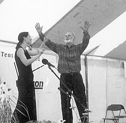 "Laura and Jay O' Callahan performing ""The Spirit of the Great Auk"" at the Illinois Storytelling Festival."